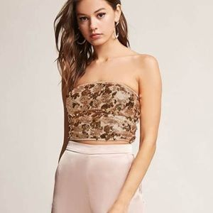 d96e49250b Forever 21 Tops - Forever 21 Gold sequin cropped tube top